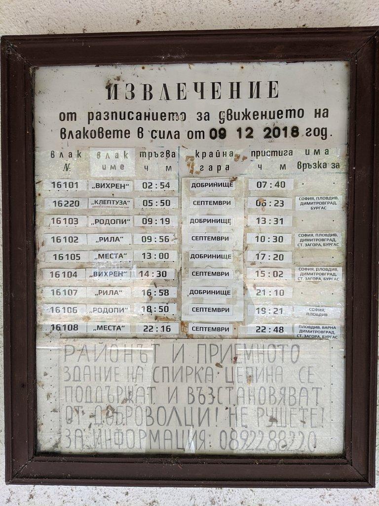Abfahrtstafel, Bahnhof Zepina